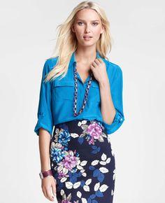 Ann Taylor - AT Blouses Tops - Silk Button Down Camp Shirt