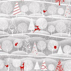 Henry Glass Holiday Frost Fabric Red Reindeer Owls Christmas Tree Forest Frosty White Winter Gray Grey