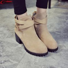11.33$  Watch now - http://alixi8.shopchina.info/go.php?t=32786164344 - siketu Women Winter Snow Ladies Low Heel Ankle Belt Buckle Martin Boots Shoes Best Gift Wholesale Drop Shipping Dec30 11.33$ #aliexpresschina