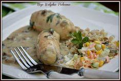 Moje Walijskie Pichcenie ...: GOTOWANE (W FOLII) ROLADKI DROBIOWE Z PIECZARKAMI I SEREM PLEŚNIOWYM Meat, Chicken, Recipes, Food, Cooking, Essen, Meals, Ripped Recipes, Eten