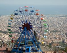 Magic Mountain Theme Park, overlooking Barcelona, Spain. I bet you have never have seen this great of a view!