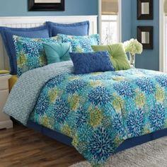 Fiesta Calypso Reversible Comforter Set  Guest Room with new headboard/nightstands/dresser