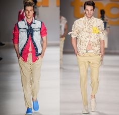 TNG 2015-2016 Spring Summer Mens Runway Catwalk Looks - Temporada Verão 2016 São Paulo Fashion Week Brazil Southern Hemisphere Moda - Blue Hawaii 1950s Fifties 1960s Sixties Beach Coast Island Outerwear Blazer Sportcoat Shorts Onesie Jumpsuit Boiler Suit Coveralls Destroyed Acid Wash Bleached Denim Jeans Paint Stains Flowers Florals Leaves Foliage Botanical Pants Trousers Khakis Vest