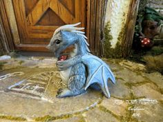 Dollhouse Miniature 112 Scale Silver Dragon by FatCatDesignsMinis