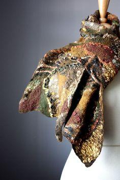 Nuno Felted scarf Wool Silk Brown by VitalTemptation: