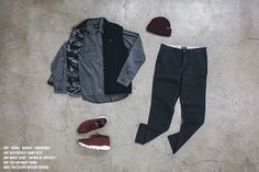 KIX & LIDZ: LIVESTOCK - FALL KEY LOOKS... Here's a mixture of accessories, apparel, and footwear to choose from in this week's Key Looks. Below we have items from HUF including their reversible camo work vest, along with their Usual beanie in burgundy - which is also comes in a variety of other colourways.