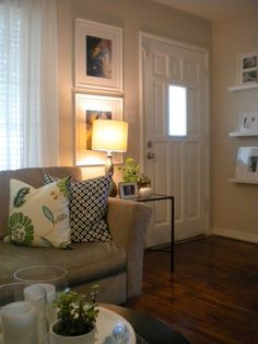 How To Create A Foyer When You Donu0027t Have One | Gray Couches, Pictures And  House Part 17