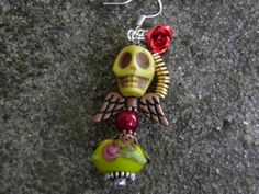 Day of the Dead Earrings Sterling Silver Yellow by MelancholyMind