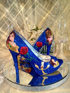 Beauty and the beast inspired blue glitter heels