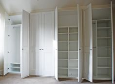 Fitted wardrobes or custom built-in cupboards are basically just boxes or frames… White Wardrobe, Bedroom Wardrobe, Wardrobe Doors, Wardrobe Closet, Built In Wardrobe, Closet Doors, Built In Cupboards, Bedroom Cupboards, Wall Cabinets