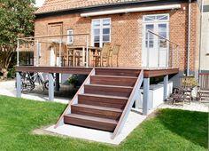 Billedresultat for terrassetrappe Interior Balcony, Home Reno, Bungalow, Outdoor Gardens, Decoration, Terrace, Sweet Home, Villa, Deck