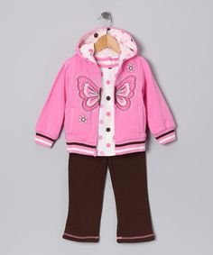 Pink Butterfly Zip-Up Hoodie Set - Infant