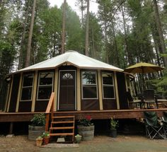 Wooden yurts with real windows -  more permanent than a canvas one --sojournyurts.com