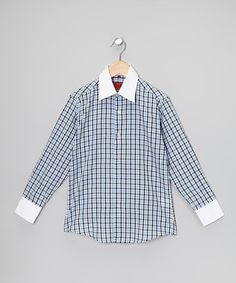 This Baby Blue & Navy Plaid Button-Up - Boys is perfect! #zulilyfinds
