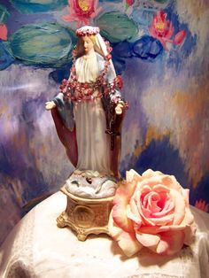 My Antique French our lady statue, our Lady of Grace, Just a stunning piece full of charm to add a sense of peace to any home, so beautiful,  our Lady is on my ebay now for World wide sale item number 151598611697 hope you love her like I do, by ciel de lit