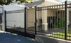 herreria                                                       … Fence Gate Design, House Gate Design, Home Fencing, House Outside Design, Mexico House, Wrought Iron Fences, Modern Fence, Entrance Gates, House Front