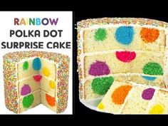 Rainbow Polka Dot Cake - Surprise Inside Sprinkle Cakes with Cupcake Addiction - YouTube
