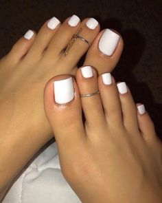 Toe Nails White, Gel Toe Nails, Painted Toe Nails, Pretty Toe Nails, Cute Toe Nails, Acrylic Nails Coffin Short, Feet Nails, Best Acrylic Nails, Dope Nails