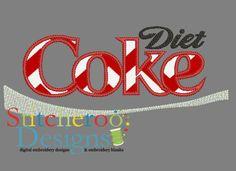Diet Coke Applique embroidery design.