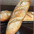Pour 2 baguettes :  Préparation : 20 minutes Cuisson :  25 minutes  - 400 g de farine type 55 - 20 g de levure fraîche de boulanger ou 5 g de levure (type briochin) - 1 c à café de sel (7 g) - 1/2 c à café de sucre (3 g) - 230 g d'eau - Farine