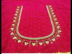 Most Beautiful Kundan Neck Design With Normal Stitching Needle- Same Like Aari/Maggam work Hand Work Blouse Design, Simple Blouse Designs, Bridal Blouse Designs, Blouse Neck Designs, Simple Designs, Handmade Embroidery Designs, Embroidery Neck Designs, Maggam Work Designs, Designer Blouse Patterns