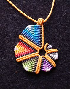 RAINBOW SPIRAL pendant cavandoli macrame adjustable by ARUMIdesign, €22.00
