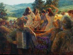 """""""Stomping the Grapes""""; oil painting by Eric Michaels.  ericmichaelsfineart.com"""