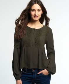 Free delivery on women's Superdry tops, rugby shirts & grandad tops. Superdry  Roswell Lacy Bluse