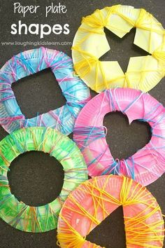 Shape activities: shape crafts: Learn about shapes using paper plates and yarn. Great preschooler activity for kids and a great way to develop their understanding of various shapes, colors and their properties. Using yarn helps build on fine motor skills. Motor Skills Activities, Preschool Activities, Preschool Shapes, Shape Activities For Preschoolers, Shapes Toddlers, Learning Shapes, Kids Learning, Learning Spanish, Kids Crafts