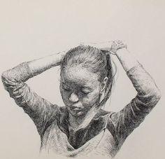 "Pen artist Sam Kim (Korean: 1981) | ""Young Girl"" (detail)  | Pen drawing (2012)"