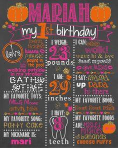 Pumpkin First Birthday Chalkboard /First Birthday Pumpkin Chalkboard /Girl First Birthday Chalkboard Sign /Pumpkin Halloween Chalkboard Sign - Vannahs first birthday - Baby Halloween First Birthday, Pumpkin First Birthday, Fall Birthday, Birthday Board, Girl First Birthday, First Birthday Parties, Girl Halloween, Birthday Ideas, October Birthday