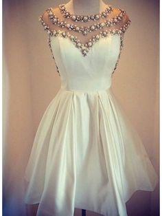 IVORY BEADED SHORT HOMECOMING DRESS 2016