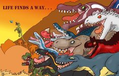 Life finds a way by BangBooDoragon on DeviantArt Jurassic World Dinosaurs, Lego Jurassic, Jurassic Park World, Jurassic Park Poster, Jurassic Park Trilogy, Dinosaur Funny, Dinosaur Art, Michael Crichton, Diy Toys For 1 Year Old