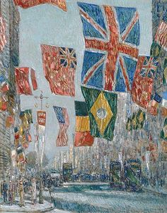 "Childe Hassam (American, 1859–1935). Avenue of the Allies, Great Britain, 1918. The Metropolitan Museum of Art, New York. Bequest of Miss Adelaide Milton de Groot (1876–1967), 1967 (67.187.127) | During World War I, Hassam painted views of New York's Fifth Avenue decorated as ""the Avenue of the Allies."" #newyork #nyc"