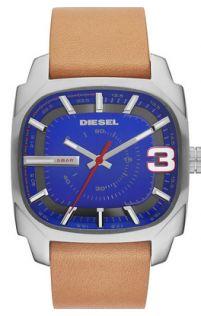 Diesel DZ1653 Shifter Blue Dial Brown Leather Strap Men's Watch