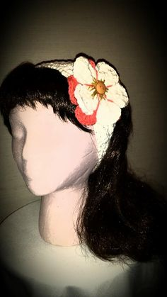 Crocheted flower magnolia  headband