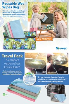 Reusable Wet Wipes Bag: Convenient, cost-effective and eco-friendly, this water-resistant, 2-pocket bag is the reusable on-the-go solution to carry your Norwex Microfiber Cloths, dry or wet, anytime, anywhere. Put your dry, unused Makeup Remover Cloths or Baby Body Pack in the front pockets, and use the larger pocket for wet or used items.