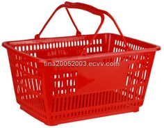 Red - Heavy Duty **Jumbo** - Hand Held Shopping Basket With Chrome Handles ( 1 Pc ) Plastic Shop, Retail Solutions, Carriage Bolt, Chrome Handles, Retail Shop, Plastic Laundry Basket, Cool Toys, Hold On, China Shopping