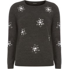 Dorothy Perkins Charcoal Sequin Snowflake Jumper ($45) ❤ liked on Polyvore featuring tops, sweaters, grey, charcoal gray sweater, jumpers sweaters, grey jumper, sequin christmas sweater and charcoal grey sweater