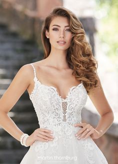 Martin Thornburg 218225 Daniela, lace A-line wedding dress with hand-beaded straps, sweetheart neckline, corded lace bodice and dipped zipper back. Bridal Gowns, Wedding Gowns, Informal Weddings, Bridal Pictures, A Line Gown, Yes To The Dress, Lace Bodice, Dream Dress, Bridal Style