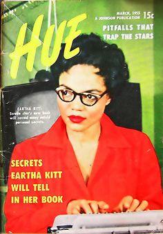Eartha Kitt on the cover of Hue Magazine