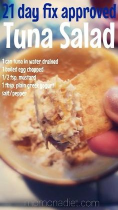 Tuna Salad Recipe - 21 day fix approved tuna salad recipe! Made with greek yogu. - Tuna Salad Recipe – 21 day fix approved tuna salad recipe! Made with greek yogurt but it's goo - Healthy Tuna Salad, Healthy Snacks, Healthy Eating, Healthy Chicken, Easy Tuna Salad, Dinner Healthy, Healthy Cooking, Beachbody 21 Day Fix, 21 Fix