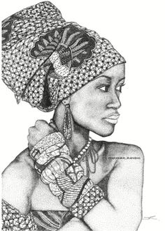 Taylored Dots African Goddess A2 Print