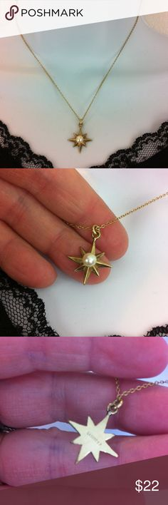 Vintage GF necklace by LaMode Gold filled vintage star with faux pearl decor. Marked LaMode GF. Chain is 16 inches and pendant 3/4 inch. LaMode Jewelry Necklaces