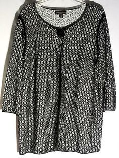 DANA BUCHMAN Linen-Cotton Black-White Sweater - One Button at Neck - Size 1X