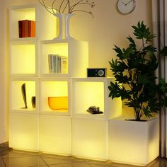 The LED MODULAR UNITS (sold individually) are weatherproof and be used as anything from bookcases to outdoor drink coolers. Can also be used as stackable light cubes. Unit size 17x17x17