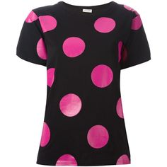 Saint Laurent polka dot T-shirt ($375) ❤ liked on Polyvore featuring tops, t-shirts, black, black short sleeve t shirt, loose t shirt, short sleeve t shirt, loose tee and cotton t shirt