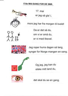 Har laget denne sangen slik at den er enklere å lære Norwegian Words, Constitution Day, Time To Celebrate, Norway, Kindergarten, Singing, Songs, Teaching, Activities