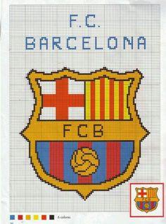 Вышивка крестом логотип футбольного клуба барселона