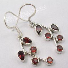 925 Silver GARNET CUTE PLANT LEAF Dangle Earrings 3.7CM #Dangle